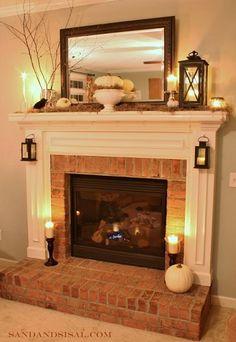 Stunning 7 Brick Fireplace Mantle Design Ideas On A Budget Brick Fireplace Makeover, Fireplace Remodel, Fireplace Design, Fireplace Ideas, Small Fireplace, Mantel Ideas, Fireplace Mantles, Modern Fireplace, Mirror Over Fireplace