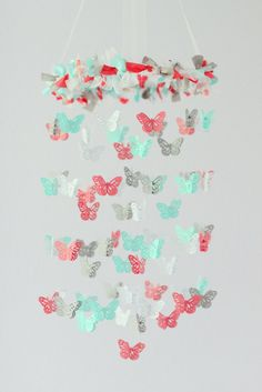 Beautiful Colors for Nursery Room Coral Aqua Gray & White Butterfly Nursery by LoveBugLullabies, $63.00