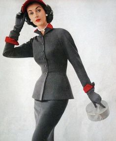 I Want This Suit, Yes, I Would Wear This Today Including Hat and Gloves - Dovima 1950