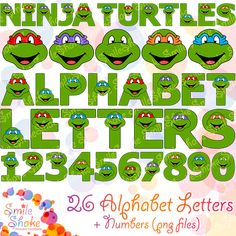 Printable Mutant Ninja Turtles Alphabet 41 PNG Letters and