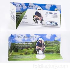 Clever 3D Mailer from Trine University Golf Management Program. #weddings #design #directmail #digitalprint #events #folding #paper #print #accordion #marketing #cards #crafts #brochure #creativity #invitations
