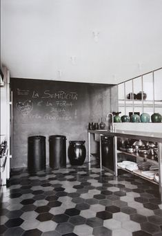 Love the colours and the textures of the tiles, black board and stainless - #so65 #piastrelle