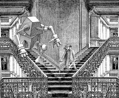 """Daniel Mróz, """"Potworyk"""", ilustracja do opowiadań z cyklu """"Cyberiada"""", 1965 (źródło: materiały prasowe)"""