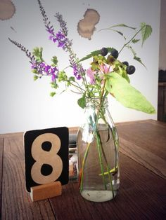 Love using playing cards with this little wood stand....   Toast-House-Ilkley-flowers-Remodelista