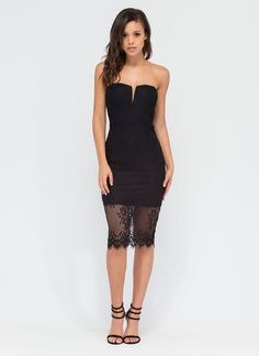 Lovely In Lace Strapless Dress