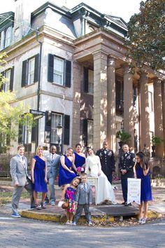 Love the cobalt blue of the bridesmaids dresses