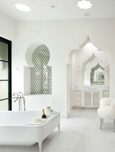 Luxurious bathroom with Moroccan architectural elements without bright colors and patterns    @pattonmelo