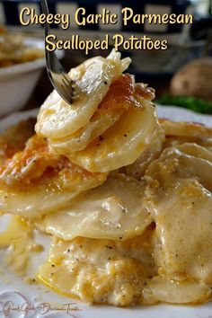 Cheesy Garlic Scalloped Potatoes - Loaded with three different types of cheese, garlic and sour cream, these are some tasty taters. Totally scrumptious!