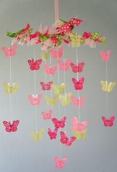 Pink & Green Nursery Crib Mobile, Baby Shower Gift, Nursery Decor, Photography Prop. $38.00, via Etsy.