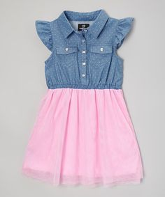 Loving this Blue & Pink Angel Sleeve Dress - Infant, Toddler & Girls on #zulily! #zulilyfinds