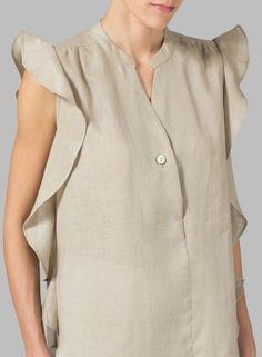 PLUS Clothing - Linen Ruffle Sleeve Top