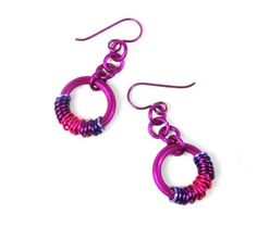 Colorful Coiled Chainmaille Earrings | AllFreeJewelryMaking.com