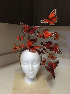 Hats for Women: Monarch Butterfly Fascinator Headpiece, Headdress, Headband, Der. Fascinator Hats, Fascinators, Costume Papillon, Halloween Kostüm, Halloween Costumes, Fairy Costumes, Monarch Butterfly Costume, Butterfly Halloween Costume, Butterfly Exhibit