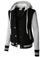 LE3NO PREMIUM Womens Contrast Sleeve Fleece Varsity Baseball Hoodie Jacket http://le3no.com/collections/women-jackets/products/premium-womens-contrast-sleeve-fleece-varsity-baseball-hoodie-jacket-wjc1971 #jacket #women