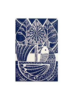 Blue Folk Bird and tree Lino print by Mangle Prints, via Flickr