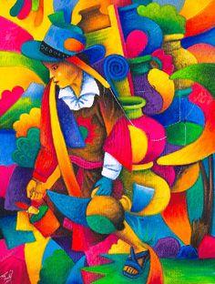 Julian Coche Mendoza,Pots de terre,2012,cubisme,fauvisme,La Fusion Matisse et Picasso,visitez le guatemala,analyse et etude de la toile et du style,signification de la toile,art,culture,peinture