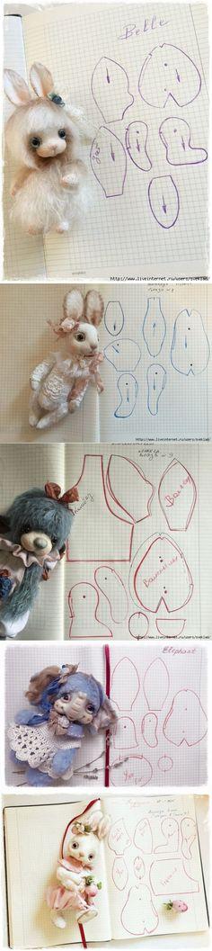 ВЫКРОЙКИ ОТ ТАТЬЯНЫ САДОВСКОЙ. Текстильные игрушки с приваленными мордашками