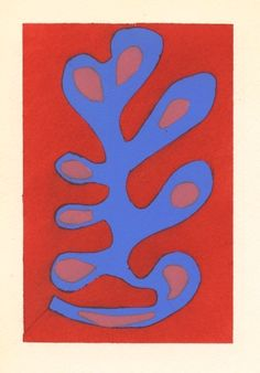 """Henri Matisse pochoir """"Algue bleue sur fond rouge"""". This small but rare print was hand-colored in 1953 in the Ateliers du Coloris Moderne under the direction of Y. F. Wils, and published in Paris the same year by Galerie Berggruen."""
