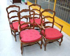4 sedie provenzali in noce massello scolpite con spighe fiori e