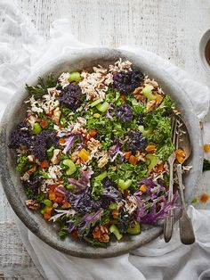 This recipe for walnut, wild rice and winter green salad is quick, easy and vegetarian but packed full of flavour.