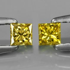 0.29 ct. Noble Pair Fancy Yellow 2.9mm Princess Cut Diamonds, SI-1 Fancy, Princess Cut Diamonds, Colored Diamonds, Natural Gemstones, Diamond Cuts, Cufflinks, Pairs, Yellow, Accessories