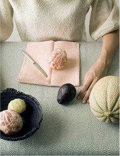 linen, grapefruit pink, black skin and melon rind