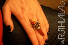Silver coral pyrite and fire opal ring  by Ruth Laila Steffensen