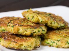 """Zucchini Patties: 3c zucchini, grated,1/3 c parmesan cheese, grated, 1c biscuit mix, 1 egg, beaten, 1 clove garlic, crushed, 1 tsp italian seasoning salt & pepper, to taste. 1. Mix all ingredients together and drop by spoonfuls into hot skillet with 1/4"""" oil in it. Note: I like using Canola oil myself. 2. Fry on each side until golden brown."""