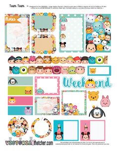 Printables for my planner Printable Planner Stickers, Journal Stickers, Free Planner, Happy Planner, Theme Mickey, Disney Planner, Tsumtsum, Planner Supplies, Planner Ideas