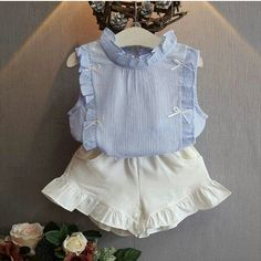 New Summer Girls Clothing Sets Chiffon Soild Sleeveless Shirt Top White Shorts Suit Girls Outfits Toddler Girl Clothing Baby Girl Bows, Little Girl Dresses, Girls Dresses, Baby Girls, Kids Girls, Girl Toddler, Infant Girls, Baby Flower Girl Dresses, Baby Boy Newborn
