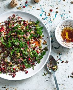 Wild Rice, Kale, Chilli and Pomegranate Salad, an easy Turkish recipe. For the full vegetarian recipe, click the picture or see www.redonline.co.uk