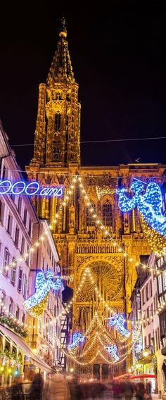Christmas decorations near the Cathedral - Strasbourg, France | 25 Impressive photos of Christmas celebrations around the World. #17 Is Awesome!
