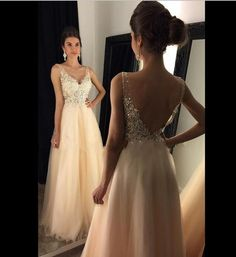 V-Neck A-Line Prom Dresses,Long Prom Dresses,Tulle Prom Dresses, Evening Dress, Applique and Beaded Prom Gowns, Formal Women Dress,Evening Dress