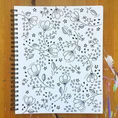 Com tangles & doodles doodles, doodle art e drawings. Botanical Line Drawing, Floral Drawing, Drawing Flowers, Tangle Doodle, Doodles Zentangles, Doodle Doodle, Flower Doodles, Cute Doodles, Doodle Flowers