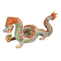Herend Limited Edition Fireworks Dragon Hand Painted Porcelain Figurine. Multiple Designs w Black Fishnet, Much Rust Trim, Gold Accents.