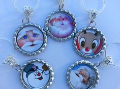 Christmas Wine Charms and table decorations. Holiday Wine Charms, pick your theme and sayings, or have them personalized
