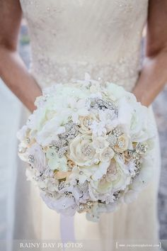 Softest white handmade flower brooch bouquet -- deposit on a made-to-order wedding bouquet on Etsy, $225.00