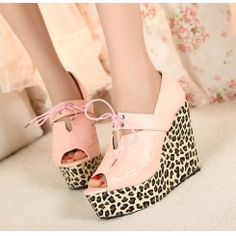 Wholesale Sweet color matching peep toe leopard wedge heel sandals CZ-0735 pink - Lovely Fashion