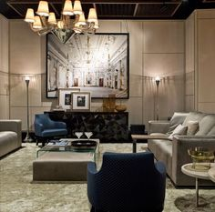 Italian contemporary furnishings company Luxury Living's showroom features furnishings by Fendi Casa