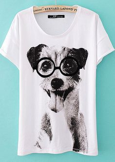 cute dog wearing glasses tshirt
