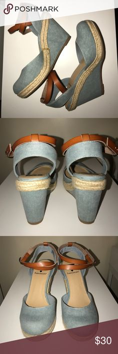 BC footwear by Francescas wedges Loving these adorable denim colored wedges with tan ankle adjustable strap details. Excellent used condition with no visible marks. Goes with so many outfits ladies. BC Footwear Shoes Wedges