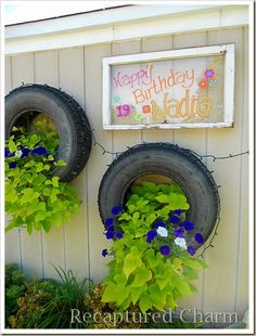 What an awesome and unique planter idea! Got a hole in your tire? Now you have a planter! ;)might be cute white instead