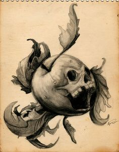 Poison Apple by StrawberriesnScream Apple Tattoo, Pumpkin Tattoo, Skull Tattoos, Hand Tattoos, Apple Sketch, Poison Tree, Weird Fruit, Fruit Tattoo, Fruits Drawing