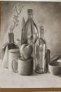 Drawing With Charcoal , Charcoal still life I like the shading used to develope the realism of he objects in contrast with the reflection and light Still Life Sketch, Still Life Drawing, Still Life Art, Still Life Pencil Shading, Drawing Sketches, Cool Drawings, Pencil Drawings, Sketching, Artist Pencils