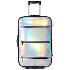 Current Mood Space Traveler Holographic Suitcase (600 HRK) ❤ liked on Polyvore featuring bags and luggage