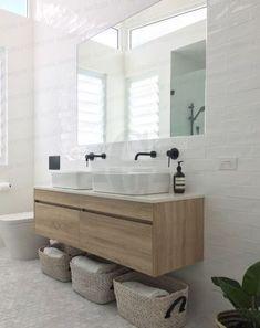 New Wood Tile Bathroom Tub Vanities 24 Ideas Bathroom Renos, Laundry In Bathroom, White Bathroom, Bathroom Ideas, Bathroom Small, Bathroom Storage, Vanity Bathroom, Bathroom Remodeling, Double Sink Bathroom