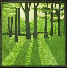 "Art Quilts Around The World : Monochromatic - Chris Daly - ""Spring Green"" Patchwork Quilting, Applique Quilts, Art Quilting, Quilting Projects, Quilting Designs, Quilt Design, Monochromatic Quilt, Landscape Art Quilts, Green Quilt"