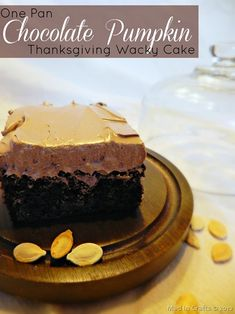 One Pan Chocolate Pumpkin Thanksgiving Wacky Cake - Mad in Crafts