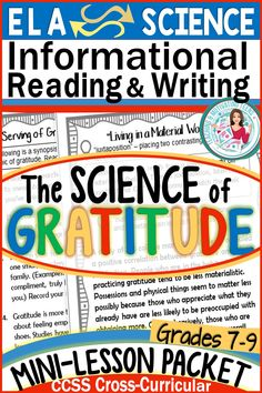 Check out this perfect lesson for Thanksgiving. Don't just tell your students they should be grateful - demonstrate the scientific reasons behind why they will benefit by developing the habit of gratitude. These mini-lessons are fully editable and include differentiated writing responses and activities. Cross curricular for middle school and high school. Teaching Materials, Teaching Tools, Teaching Resources, Creative Teaching, Teaching Ideas, School Resources, Middle School Writing, Cross Curricular, Teaching Science