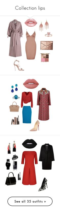 """Collection lips"" by lenapolishchuk ❤ liked on Polyvore featuring Zimmermann, River Island, Rebecca Minkoff, Serefina, Lime Crime, Stila, Dsquared2, Gucci, St. John and L'Agence"
